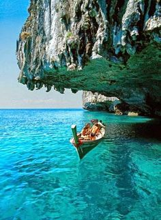 Deep blue sea in Santorini, Greece.