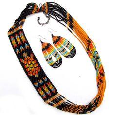 Black Fire Seed Beaded Necklace Earrings Turtle Beadwork S53/2