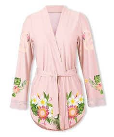 Take a look at this Pink Flamingo Floral Robe - Plus Too today!