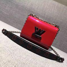 Louis Vuitton Smooth Patent Calfskin Twist PM Bag M54245 Red 2017 Louis Vuitton Red Purse, Louis Vuitton 2017, Louis Vuitton Shoulder Bag, Vuitton Bag, Louis Vuitton Handbags, Designer Bags For Less, Designer Purses, Lv Handbags, Red Bags