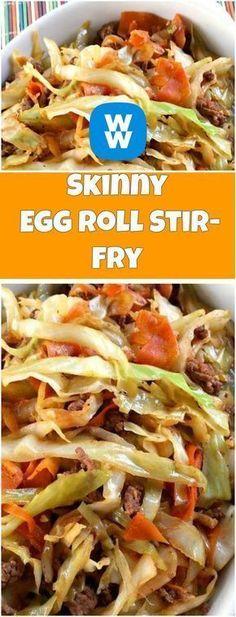 Skinny Egg Roll Stir-Fry   weight watchers recipes   Page 2 Skinny Recipes, Ww Recipes, Light Recipes, Popular Recipes, Cooking Recipes, Healthy Recipes, Dessert Recipes, Desserts, Recipes For Two