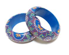 Wooden Bracelet, Decoupage Stack Bangle, Hand painted Bracelet, Blue, Sun jewelry, with decoupage, Wooden Bangle Bracelet, Bohemian bracelet...