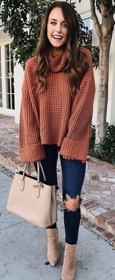 What To Wear With Rips Knit Sweater Plus Bag Plus Boots