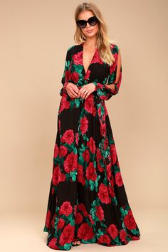 Strike a Rose Black Floral Print Long Sleeve Maxi Dress 1 Heks Mode ab04265798c2