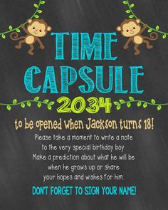 Time Capsule First Birthday Printable Time Capsule Birthday