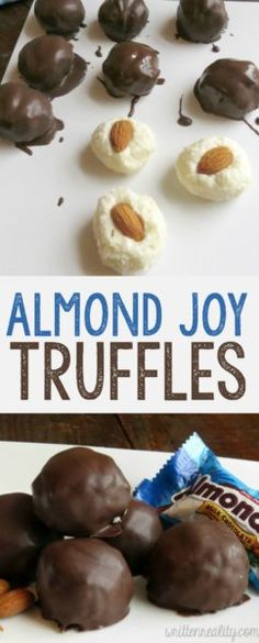 This recipe for Almond Joy Truffles tastes just like the candy bar! It's filled with a creamy coconut center, topped with an almond, and covered in dark chocolate. You are going to love this dessert! More This recipe for Almond Joy Tr Köstliche Desserts, Delicious Desserts, Dessert Recipes, Dinner Recipes, Kraft Recipes, Plated Desserts, Yummy Drinks, Drink Recipes, Holiday Baking