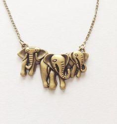 Earrings – Elephant Pendant Necklace, Three Elephant Necklace – a unique product by Danushandmade on DaWanda
