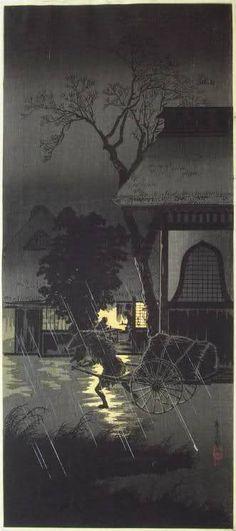 SHOTEI, Night Rain at Asagaya/aka Wagon Puller, 1920's/30's