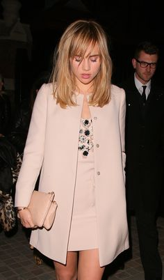 Suki Waterhouse is wedding-guest perfection in all pink everything