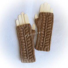 Crocheted Palm Fingerless Mitts in Tan, Medium, fingerless gloves