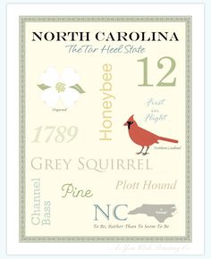 North Carolina State Pride Series 11x14 by AsYouWishPrinting, $19.50