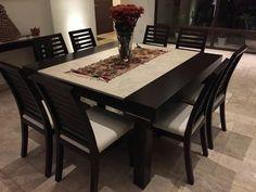 Juego de comedor de 8 sillas modernos mesas pinterest for Comedores cuadrados modernos
