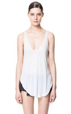 TANK TOP WITH ASYMMETRIC HEM - T-shirts - Woman - ZARA United Kingdom