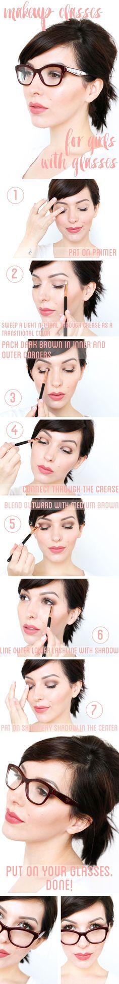 Beauty // Beautiful makeup tutorial if you'we wearing glasses.