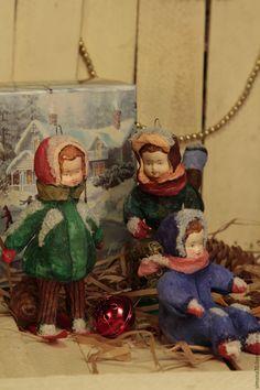 Купить Ватные игрушки. Дети. - ватная игрушка, голубой, винтаж, СССР, ретро, елочные украшения