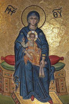 """Πλατυτέρα των Ουρανών. / Theotokos """"Platytera"""" (Our Lady of the Sign)."""