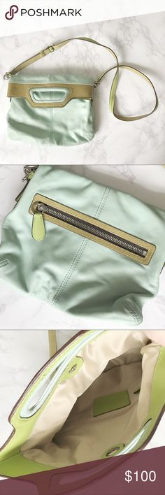 Mint Green COACH cross body bag Gently used mint green coach cross body bag. It has lime green details and a vintage style making it great for spring! There is some discoloration and minor imperfections on the handle flap as shown. This bag is so unique and fun for Spring and Summer!   💜 Make an Offer! 💜 Coach Bags Crossbody Bags