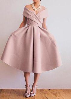 Tea Length Semi Formal Dress Party Dress - Tea Bridesmaids Gowns Vintage Style, Calf Length Dresses for . Tea Length Dresses, Short Dresses, Fall Dresses, Dresses Dresses, Casual Dresses, Chiffon Dresses, Club Dresses, Pretty Dresses, Beautiful Dresses