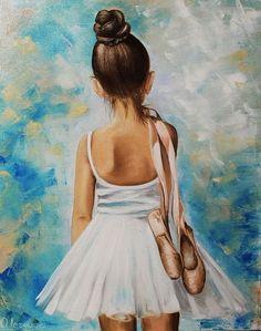 Oil painting / Люди, ручной работы. Ярмарка Мастеров - ручная работа. Купить Картина маслом Девочка балерина. Handmade. Голубой, девочка балерина