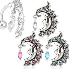 """Crescent Moon Top Down Belly Ring Quantity: 1 piece Gauge: 14g (1.6mm) Bar Length: 3/8"""" (10mm) Charm Width: 15mm Charm Length: 23mm"""