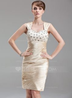 Mother of the Bride Dresses - $136.99 - Sheath Sweetheart Knee-Length Charmeuse Mother of the Bride Dress With Ruffle Lace Beading (008006020) http://jjshouse.com/Sheath-Sweetheart-Knee-Length-Charmeuse-Mother-Of-The-Bride-Dress-With-Ruffle-Lace-Beading-008006020-g6020