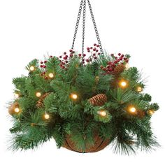 A hanging basket with pine tree branches (or any Christmas tree branch), pine cones, white battery-powered lights, and berries.