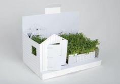 """Carte de voeux décor à monter """"Postgarden"""" qui devient un joli petit jardin hivernal (graines de cresson fournies !) dispo sur marcelgreen.com"""