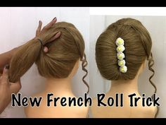 How to make a French Bun, How to make French Roll Hairstyle, French Twist Hairstyle Trick, Easy way to make French Roll Updo. In this french bun h. French Roll Hairstyle, French Twist Updo, French Bun, French Twists, How To Make Hairstyle, French Style, French Twist Tutorial, Twist Hairstyles, Wedding Hairstyles