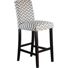 Carson Upholstered Bar Stool - Gray and White Chevron