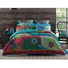 The distinctively bold and abstract style of the Bettina quilt cover combines decorative pattern and brilliant colour. Printed on cotton and quilted for texture, Bettina features a collection of mismatched patterns to create this eye-catching quilt cover. Cheap Bedding Sets, Bedding Sets Online, Hotel Bedroom Design, Bedroom Decor, Brick Bedroom, Beige Bed Linen, Matching Bedding And Curtains, Buy Bed, Quilt Cover Sets