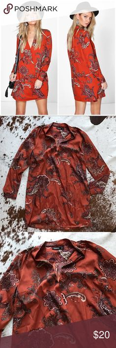 "NWOT Boohoo Lillian paisley wrap shirt dress 10 Adorable dress from boohoo. Tags were taken off to dry clean (forgot to remove the button hence the crumpled bag) but never ended up wearing it. Size 10 and fits oversized S or M. About 33"" shoulder to hem length. Rust orange color with paisley print. Boohoo Dresses Long Sleeve"