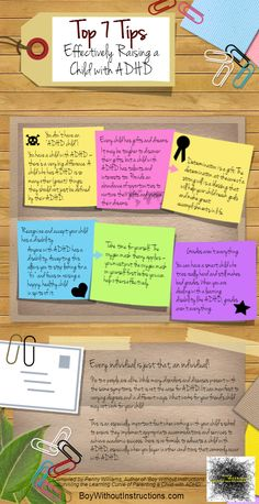 """Successfully Raising a Child with ADHD - #Infographic by Penny Williams - """"1) Remember: You don't have an """"ADHD child."""" You have a child with ADHD. 2) Every child has gifts and dreams 3) Detrmination is a gift 4) Recognize and accept that your child has a disability 5) Take time for yourself..."""""""