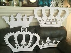 My own props: red Queen party Crowns cutouts not detailed