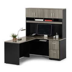 Compact L-Desk with Hutch | Gray Office Furniture | #ldesk #lshapeddesk #executiveoffice