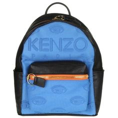 Kombo Neoprene W/ Eyes Backpack ($343) ❤ liked on Polyvore featuring bags, backpacks, blue, womenbagsshoulder bags, kenzo, blue bag, knapsack bag, day pack backpack and daypack bag