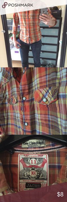 JACHS Pearl Snap western plaid shirt JACHS Pearl snap shirt in Vintage Orange plaid. Well worn in....small hole in front left panel of shirt (see pic) and small snag that hasn't turned into a hole yet on the back. Really great vintage feel shirt. Because of Small hole/snag....selling for cheap. Jachs Shirts Casual Button Down Shirts