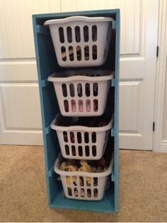 DIY laundry basket storage. No more baskets on my closet floor!! Hubs is gonna make this for me :)