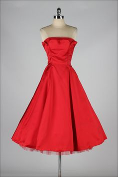 vintage 1950s dress . red satin strapless by millstreetvintage