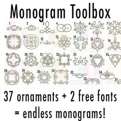 Monogram Toolbox - Hang to Dry Applique Embroidery Fonts, Machine Embroidery Designs, Calligraphy Fonts, Lettering, Block Fonts, Monogram Fonts, Monograms, Tool Box, Alphabet