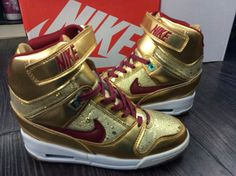 off Nike Air Revolution Sky Hi Womens Liquid Gold Metallic Yellow China Red  Off White shoes 2015