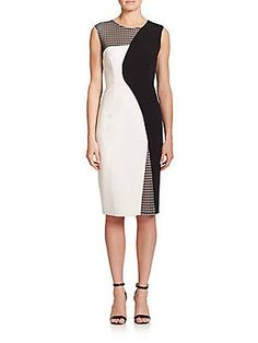 MILLY Mesh-Detail Helix Sheath Dress - Black - White - Size