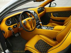 Bentley Continental GT yellow and black interior option2 diamond stitch almost orange or gold