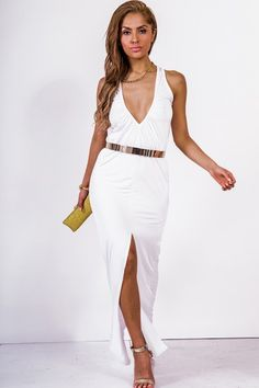 Trendy Cute bright white ruched deep v high slit evening maxi dress fo cheap | Affordable Clothing | 1015 store
