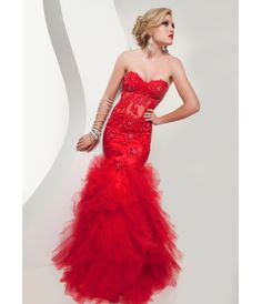 Jasz Couture 2013 Prom -Sexy Red Lace Ruffle Mermaid Prom Gown - Unique Vintage - Cocktail, Pinup, Holiday & Prom Dresses.
