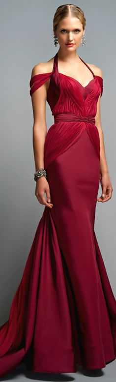 Lady in RED...Zac Posen ● Halter Evening Gown | Pretty woman in Red | Celebrate a formal event with lady in red