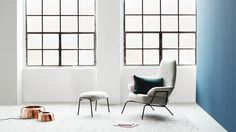 Hai Lounge Chair and Ottoman by Luca Nichetto, Levels Copper Lamp by Form Us With Love. www.hem.com.