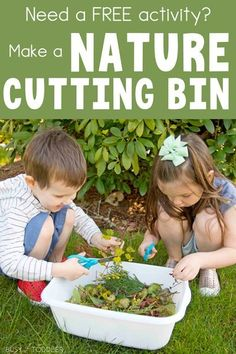 Looking for a fun and FREE kids activity? Make a nature cutting bin out of your yard clippings. Let your kids practice their scissor skills AND play. Fun Outdoor Activities, Free Activities For Kids, Outside Activities, Nature Activities, Outdoor Learning, Motor Activities, Outdoor Play, Summer Activities, Outdoor Activities For Preschoolers