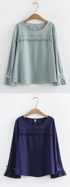 Casual Stitching Flare Sleeves Shirts For Women