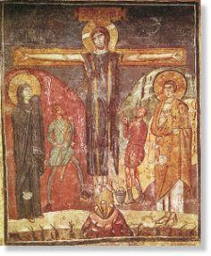 Crocifissione, affresco del VII secolo, Roma. Cristo è vestito con il colobio purpureo