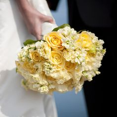 Wedding Color Yellow - roses with pale stock and lisianthus Orlando wedding flowers / www.weddingsbycarlyanes.com